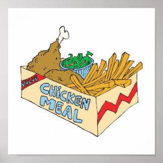 comida del valor del pollo en una caja póster