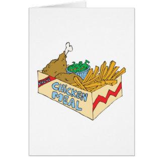 comida del valor del pollo en una caja tarjeta de felicitación