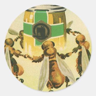 Comida del vintage, abejas orgánicas de la miel pegatina redonda