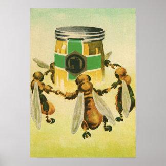 Comida del vintage abejas orgánicas de la miel qu posters