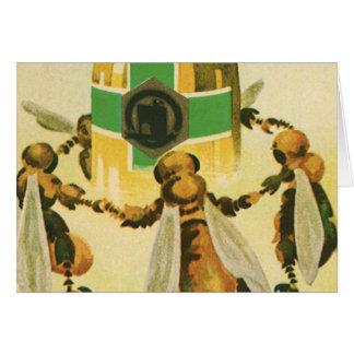 Comida del vintage, abejas orgánicas de la miel tarjeta de felicitación