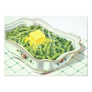 """Comida del vintage, cazuela de la haba verde con invitación 5"""" x 7"""""""