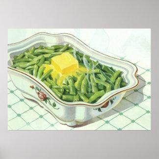 Comida del vintage, cazuela de la haba verde con póster