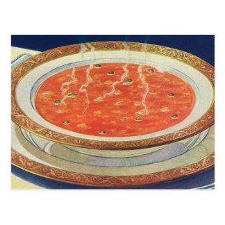 Comida del vintage, cuenco caliente de sopa del postal
