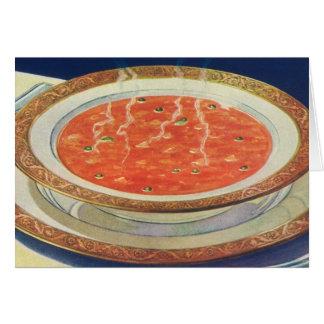 Comida del vintage, cuenco caliente de sopa del tarjeta de felicitación