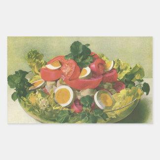 Comida del vintage, ensalada verde mezclada pegatina rectangular