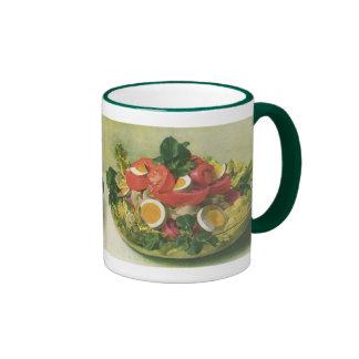 Comida del vintage, ensalada verde mezclada taza de dos colores