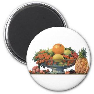 Comida del vintage, fruta clasificada en un cuenco imán redondo 5 cm