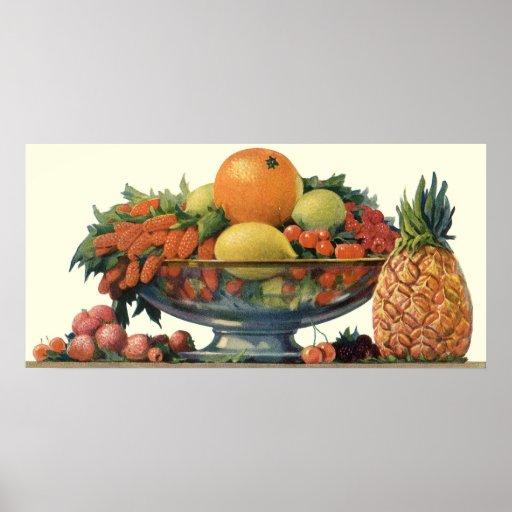 Comida del vintage, fruta clasificada en un cuenco impresiones