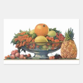 Comida del vintage, fruta clasificada en un cuenco pegatina rectangular