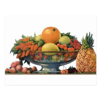 Comida del vintage, fruta clasificada en un cuenco postales