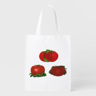 Comida del vintage, frutas, verduras, tomate bolsa para la compra
