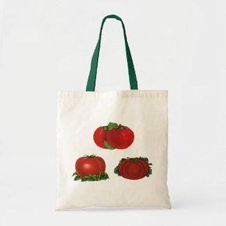 Comida del vintage, frutas, verduras, tomate bolsa tela barata