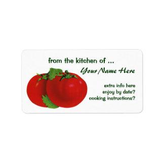 Comida del vintage, frutas, verduras, tomate etiqueta de dirección