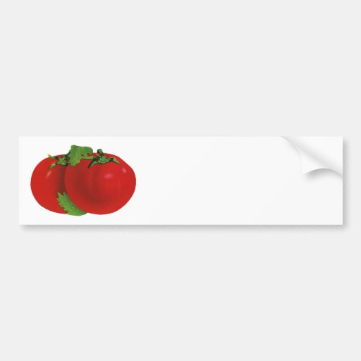 Comida del vintage, frutas, verduras, tomate madur etiqueta de parachoque