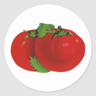 Comida del vintage, frutas, verduras, tomate pegatina redonda
