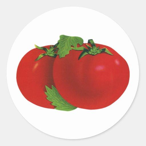Comida del vintage, frutas, verduras, tomate etiqueta redonda