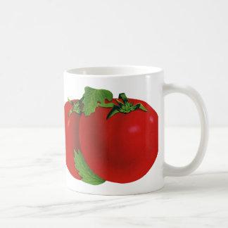 Comida del vintage, frutas, verduras, tomate taza básica blanca