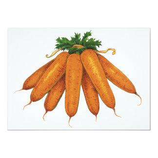 """Comida del vintage, manojo de verduras orgánicas invitación 5"""" x 7"""""""