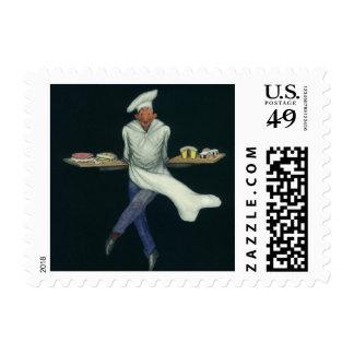 Comida del vintage, panadero con los postres y sellos postales