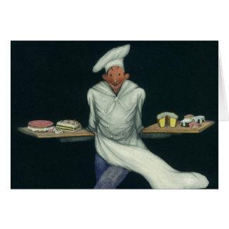 Comida del vintage, panadero con los postres y tarjeta