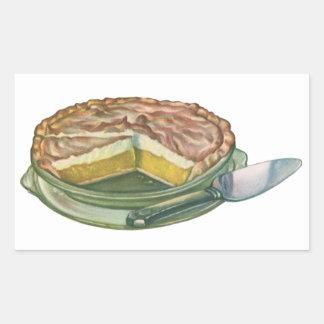 Comida del vintage, postre de la empanada de pegatina rectangular