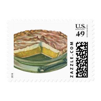 Comida del vintage, postre de la empanada de timbre postal
