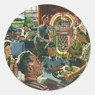 Comida del vintage, restaurante del comensal de la pegatina redonda