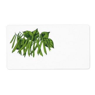 Comida del vintage, verduras, habas verdes etiqueta de envío