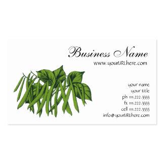 Comida del vintage, verduras, habas verdes orgánic plantillas de tarjeta de negocio
