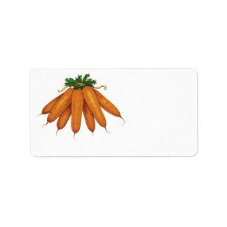 Comida del vintage verduras Manojo de zanahorias Etiqueta De Dirección