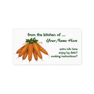 Comida del vintage, verduras; Manojo de zanahorias Etiquetas De Dirección