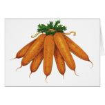 Comida del vintage, verduras; Manojo de zanahorias Tarjeton