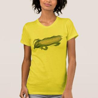 Comida del vintage, verduras sanas, maíz en la maz camisetas