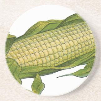 Comida del vintage, verduras sanas, maíz en la posavasos personalizados