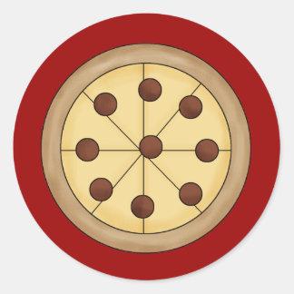 Comida deliciosa italiana de la empanada de pizza pegatina redonda
