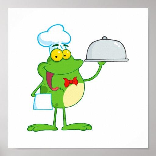 comida divertida de la porción de la rana del frog póster
