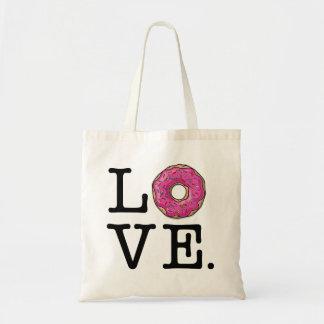 Comida divertida del amor del buñuelo bolsa tela barata