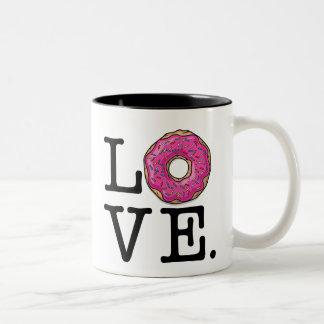 Comida divertida del amor del buñuelo taza de dos tonos