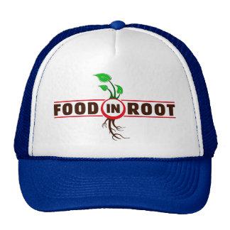 Comida en casquillo de la bola de raíz gorras