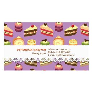 Comida fría de la torta (púrpura) con la tarjeta d tarjetas de visita