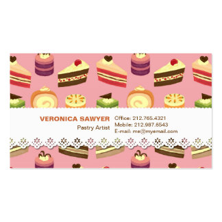 Comida fría de la torta (rosa) con la tarjeta de v plantillas de tarjetas de visita