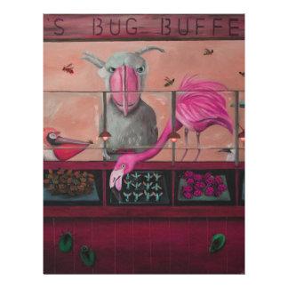 Comida fría del insecto de Bert en rosa Membretes Personalizados