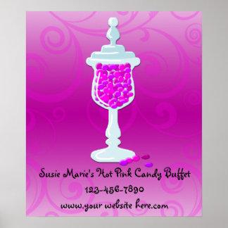 Comida fría fucsia del caramelo de las rosas fuert póster