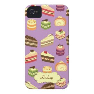 Comida fría personalizada de la torta (púrpura) iPhone 4 cárcasa