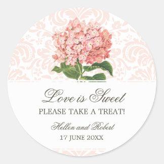 Comida fría rosada del caramelo del boda del pegatina redonda