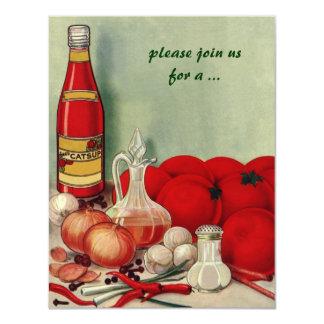 Comida italiana del vintage, cebolla del tomate invitacion personal