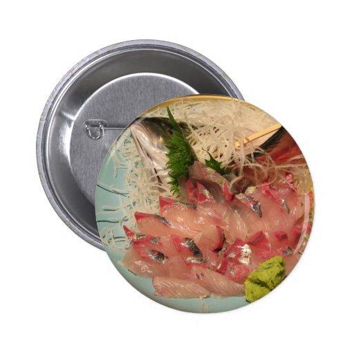 Comida japonesa del 刺身 del Sashimi… Pin Redondo De 2 Pulgadas