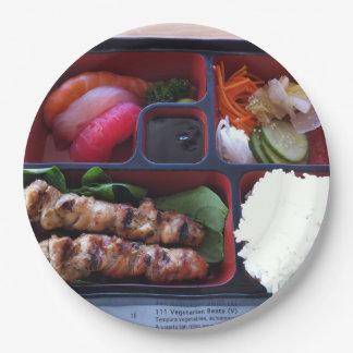 Comida japonesa del arroz del sushi de la caja de platos de papel