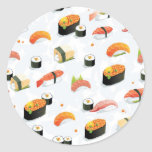 Comida japonesa: Modelo del sushi Pegatina Redonda
